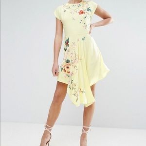 ASOS embroidered asymmetrical dress
